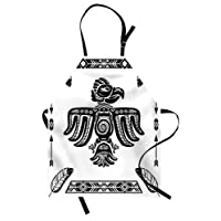 Eagle Apron, Tattoo Art Design Inspired by Primitive Cultures Mexican Peruvian Heritage Totem, Unisex Kitchen Bib Apron with Adjustable Neck for Cooking Baking Gardening, Black and White