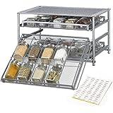 NEX Spice Rack Organizer for Cabinet, 3 Tier 30-Bottle Spice Drawer Storage for Kitchen Pantry Countertop, Metal, Silver