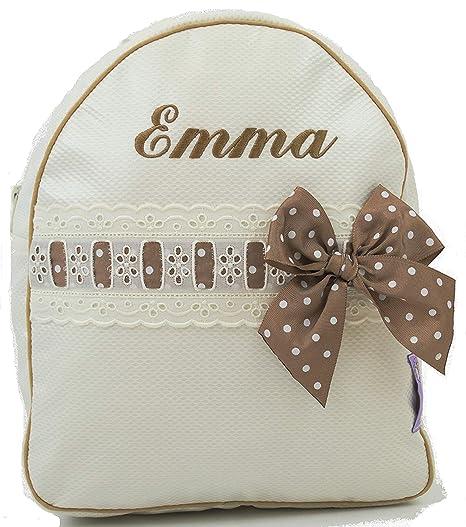 Mochila o Bolsa Infantil lencera Personalizada con Nombre en plastificado Beige y pasacintas Camel