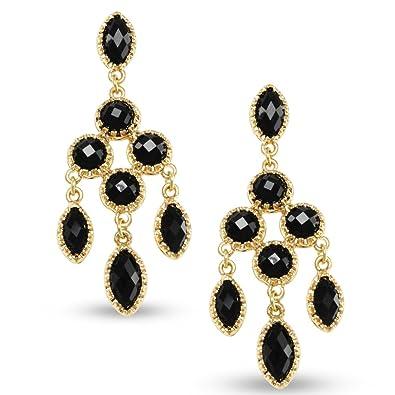 Amazon bold gold tone scalloped bezel black crystal chandelier bold gold tone scalloped bezel black crystal chandelier earrings for day or night mozeypictures Image collections