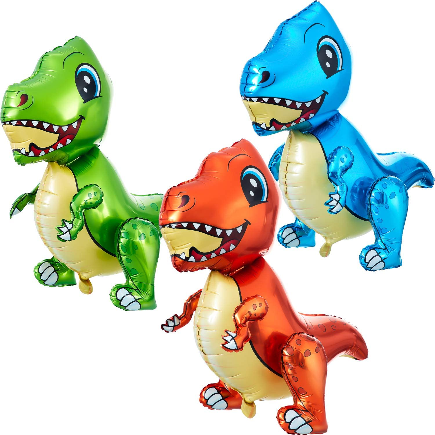 3 Pieces Self Standing Dinosaur Balloons 3d Dinosaur Balloons Inflatable Cartoon 3d Stand Dinosaur Foil Balloon Dinosaur Party Supplies For Dinosaur Jungle Themed Birthday Decorations Amazon Co Uk Toys Games