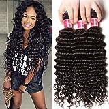 Nadula 6A Grade Brazilian Virgin Wavy Deep Wave 4 Bundles Cheap Human Hair Products 95-100g/pcs Remy Weave Extensions Natural Color (16 18 20 22, Deep Wave)