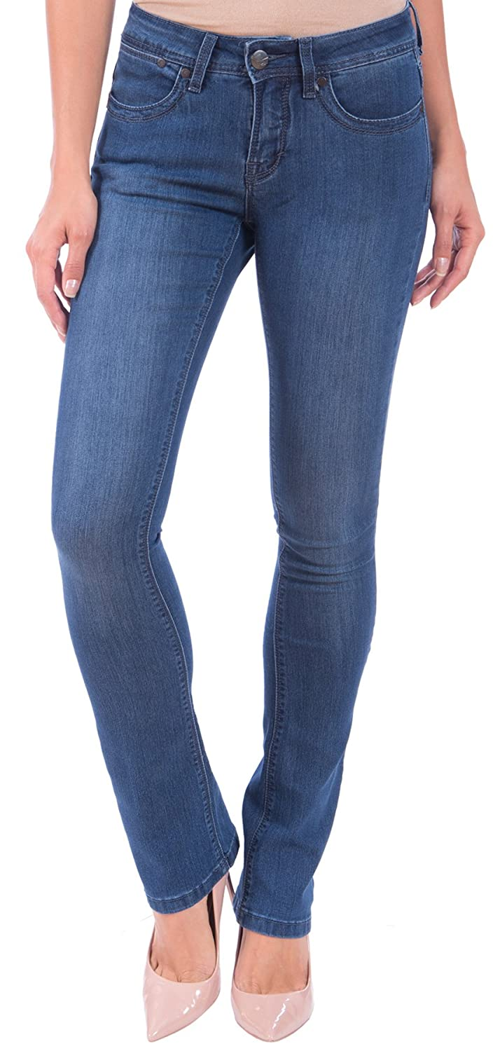 371aa069b2b Lola Jeans Women s Lauren Mid Rise 4-Way Stretch Denim Classic Boot Cut Jean  at Amazon Women s Jeans store