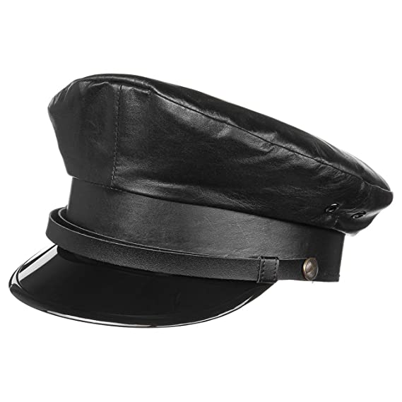 ef8e4c310d Lierys Leather Captain´s Hat Sailor Fisherman´s (58 cm - Black)   Amazon.co.uk  Clothing