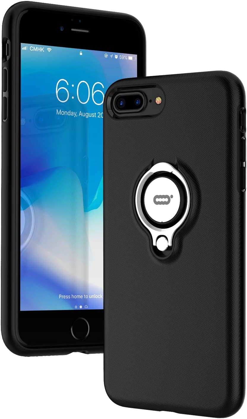 Black 360 Degree Rotating Ring Kickstand Clear Slim Hybrid Dual Layers Phone Cover with Magnetic Car Mount iPhone 6 Plus Case KULECase Compatible iPhone 8 Plus Case iPhone 7 Plus Case