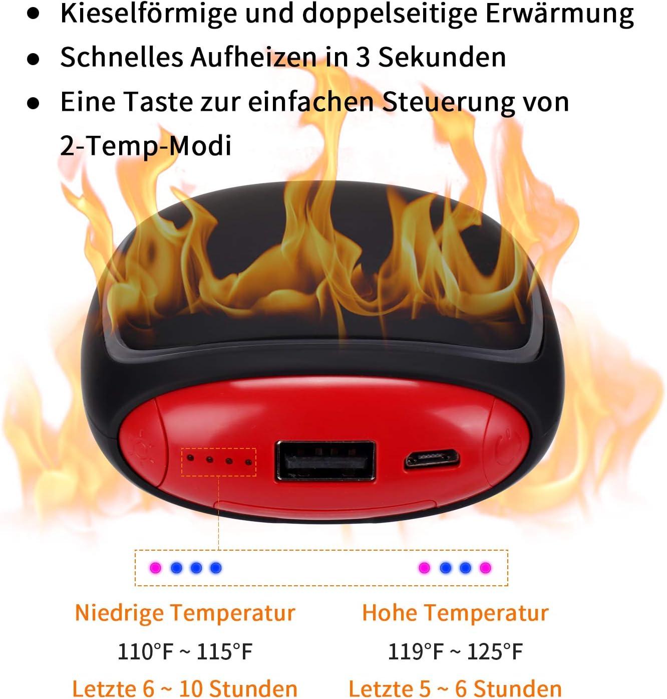 PEYOU Handw/ärmer USB Externe Backup Ladeger/ät Akku f/ür Smartphones Handw/ärmer Wiederaufladbare Powerbank 5200 mAh mit LED Taschenlampe Gro/ße Kapazit/ät und doppelseitige Heizung f/ür M/ädchen M/änner