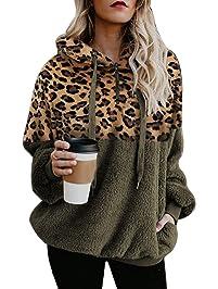 Ecupper Womens Fuzzy Sherpa Hoodies Pullover Zip Fleece Sweatshirt Outwear