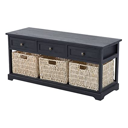 HomCom 40u0026quot; 3 Drawer 3 Basket Storage Bench   Antique Black