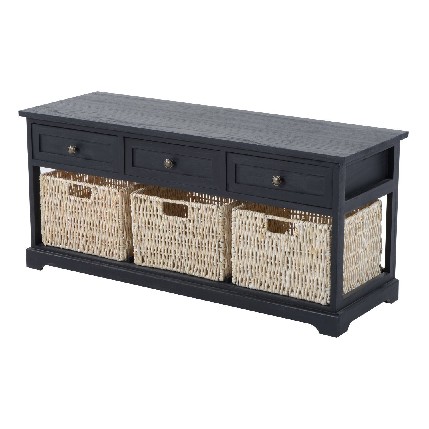 HomCom 40'' 3-Drawer 3-Basket Storage Bench - Antique Black