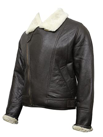 b0ff79a73eb33d Men's Aviator Real Shearling Sheepskin Leather Bomber Flying Jacket BNWT at  Amazon Men's Clothing store: