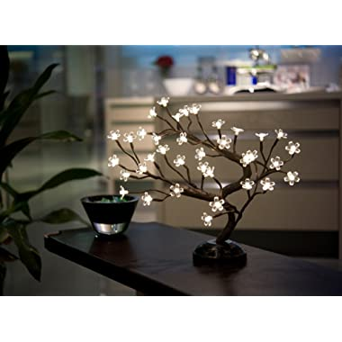 Lightshare16Inch 36LED Cherry Blossom Bonsai Light, Warm White Light, Battery Powered and Plug-in DC Adapter (Included), Built-in timer, Décor for Home/Festival/Party/Christmas/Night Light