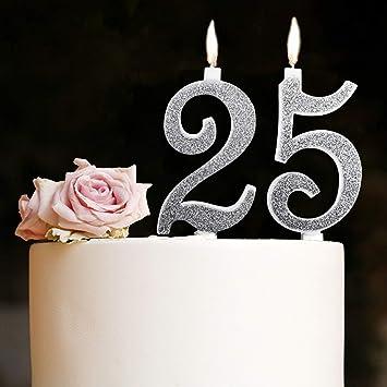"""Velas Maxi 25 años de Boda Fiesta cumpleaños 25 años decoración Velas para Tarta Aniversario Tarta 25 """"Fiesta Tema"""" Altura 13 cm Plata Purpurina"""