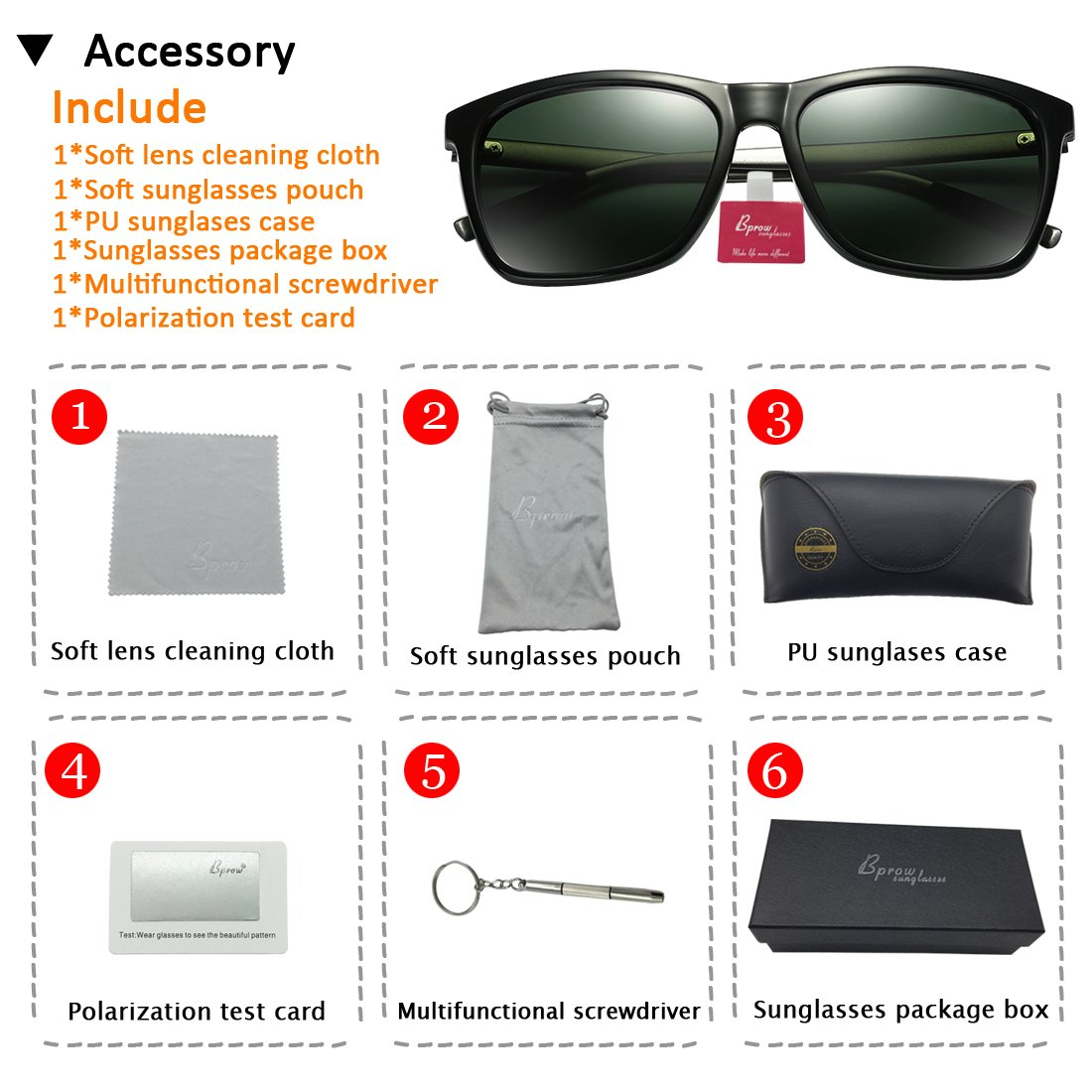 Bprow Women Polarized Sunglasses for Men Fishing Square Oversize Sun ...