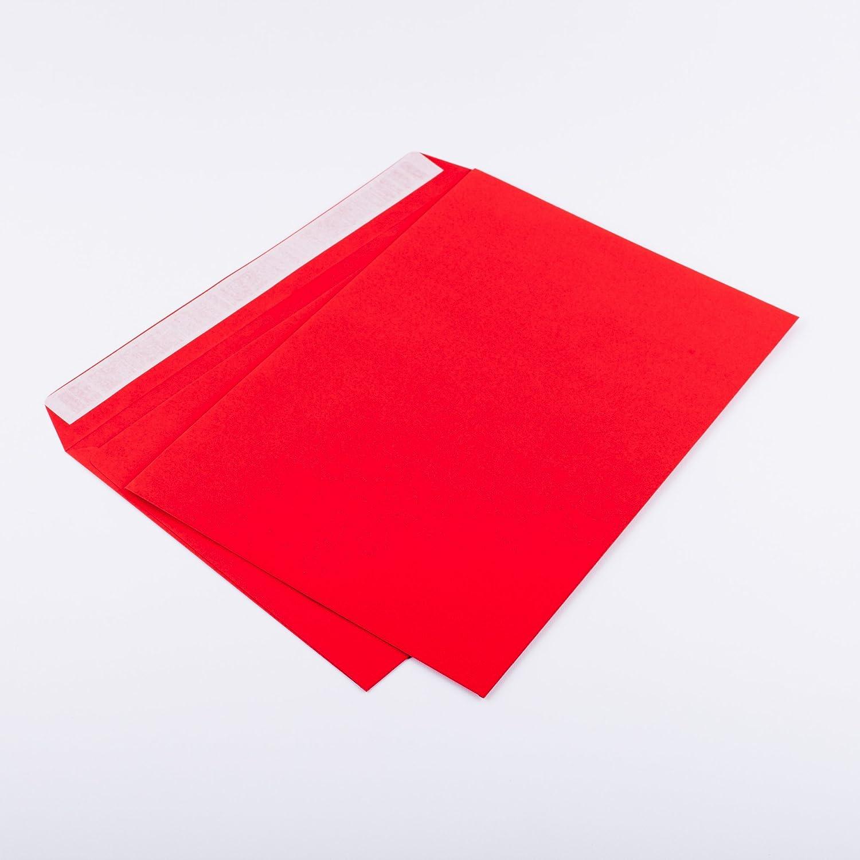25 Briefumschl/äge DIN C4 229 x 324 mm rot 120g//m/² ohne Fenster haftklebend 406A