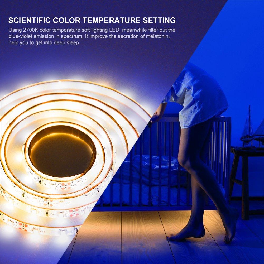 ledgle LIGHT Luz de sensor de movimiento de 1.5M Luces brillantes flexibles de la noche de la cama de tira del LED encienden para arriba su dormitorio, ...
