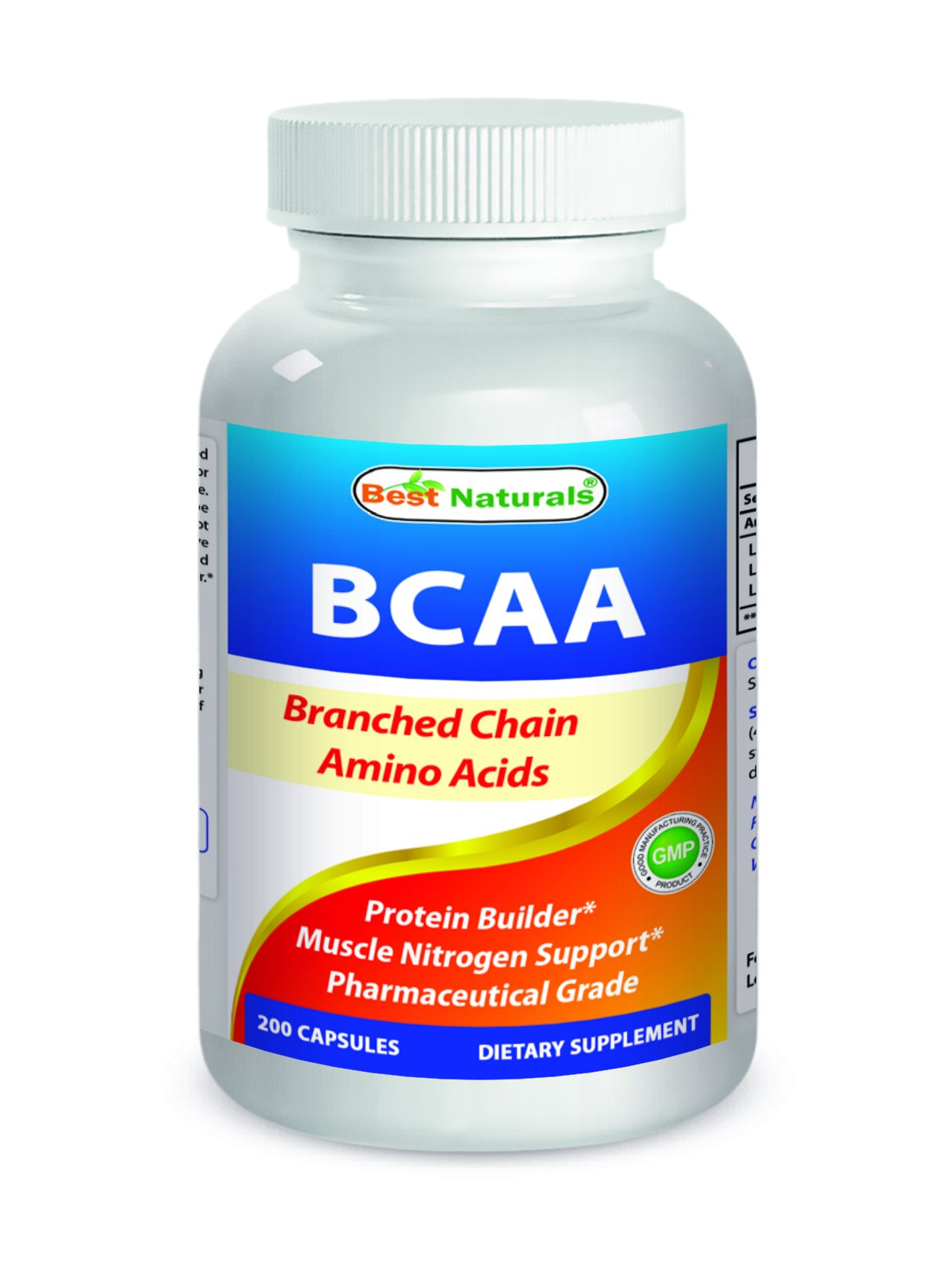 Best Naturals BCAA Branch Chain Amino Acid, 3200mg per serving, 200 Capsules - Pharmaceutical Grade - 100% Pure Instantized Formula | Pre/Post Workout Bodybuilding Supplement | Boost Muscle Growth