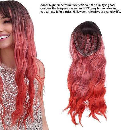 Pelucas rojas de onda larga, pelucas rizadas largas borgoña ...