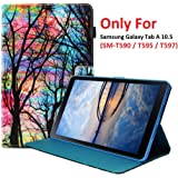 Galaxy Tab A 10.5 (SM-T590 / T595 / T597) Case, YMH Magnetic Flip Folio Cute Auto Sleep/Wake Multi Angle Stand Pocket Wallet Case Cover PU Leather Case for Samsung Galaxy Tab A 10.5 (01)