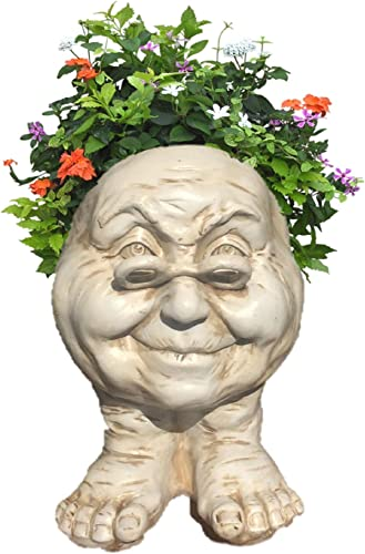 Homestyles 12 in. Antique White Grandma Violet The Muggly Statue Face Planter Holds 4 in. Pot
