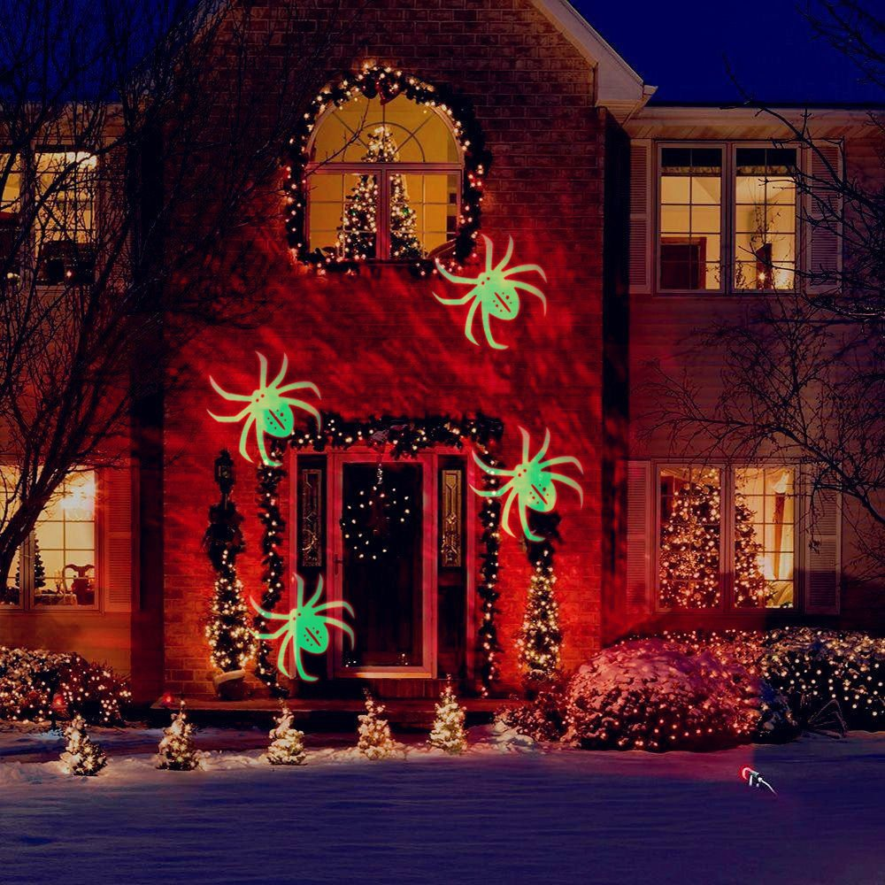 Lychee Outdoor Moving projection Led Lights Waterproof Spotlights Kaleidoscope projector Led lights for Party ,Halloween,Christmas Home decoration. (Fire&Spider Series)