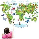 ufengke® Fumetto Mappa Mondo Colorato Animali Belli Delfini Carino Pinguino Adesivi Murali, Camera dei Bambini Vivai Adesivi da Parete Removibili/Stickers Murali/Decorazione Murale