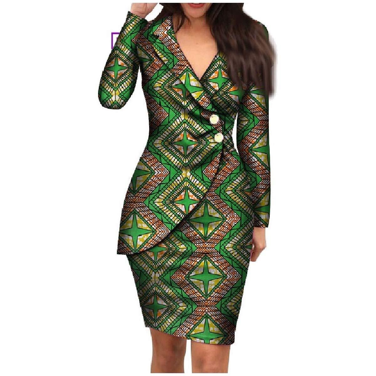 Dark Green HEFASDM Women's Dashiki Elegent Blazer African Printed Premium Back Cotton Dress