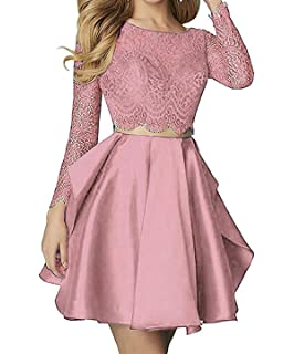 2b83b7184f88 Sweetdress Women's Two Pieces Long Sleeve Lace Homecoming Dresses Backless Short  Prom Dress