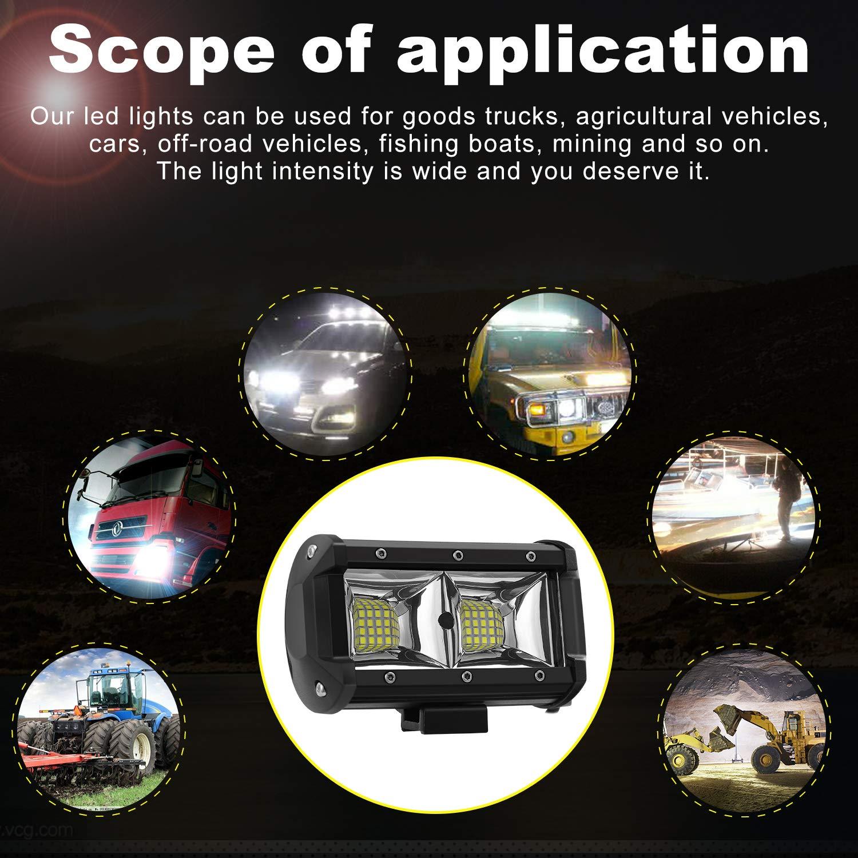 UTV 4x4 2 Ans de Garantie AAIWA Phare de Travail LED Projecteur Voiture SUV VTT Off Road 5 96W 6800LM LED Phare 2 Pi/èces Feux Antibrouillard LED Voiture Phare pour Camion