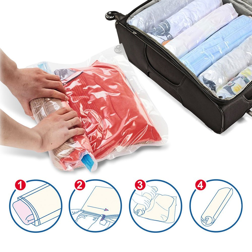 80/% More Storage Than Leading Brands! No Vacuum Needed - 2 x Jumbo, 2 x Large Spacesaver 4 x Premium Travel Roll Up Compression Storage Bags for Suitcases Travel 4 Pack