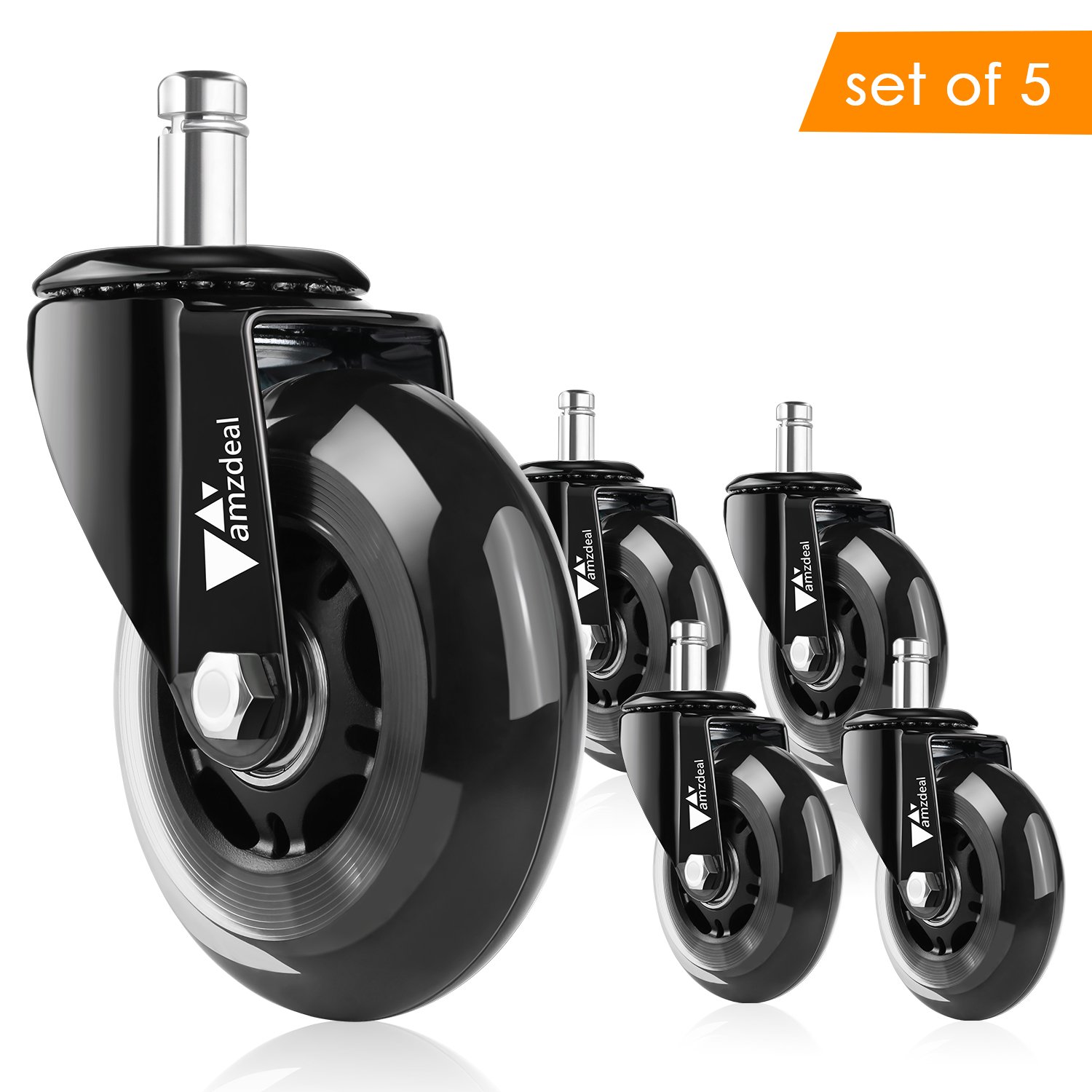 Office Chair Caster Wheels Amzdeal Office Chair Replacement Rollerblade Wheels Heavy Duty & Safe for All Floors with Standard Stem Diameter(Set of 5)