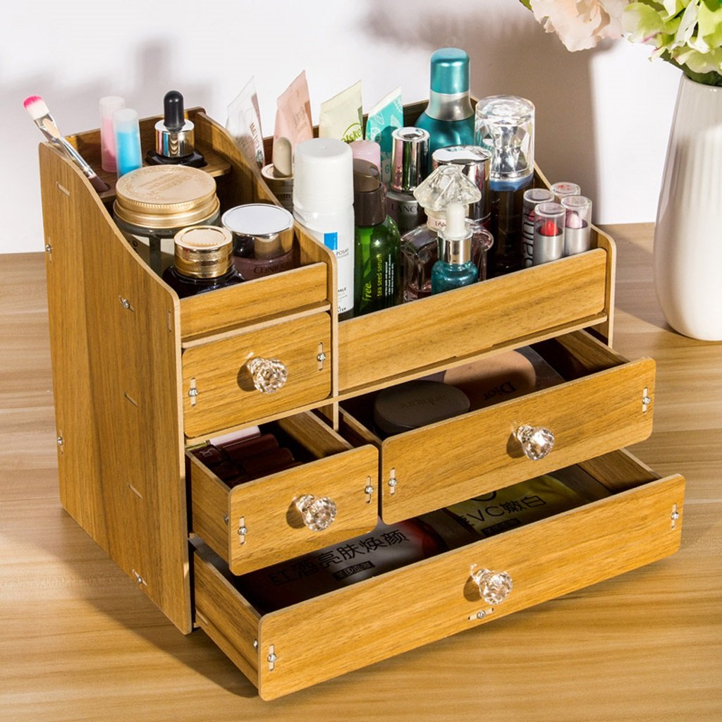 Cosmetic Storage Box,DIY Wooden Desktop Drawer Type Storage Shelf Dressing Table Finishing Box (Color : Dark wood color) by SUN (Image #2)
