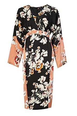 Boohoo Womens Orla Matte Satin Kimono Sleeve Midi Dress in Black size 4