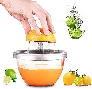 Stainless Steel Manual Juicer ,Fruit Lemon Lime Orange Squeezer with Bowl Juicer Strainer-in Measuring Cup