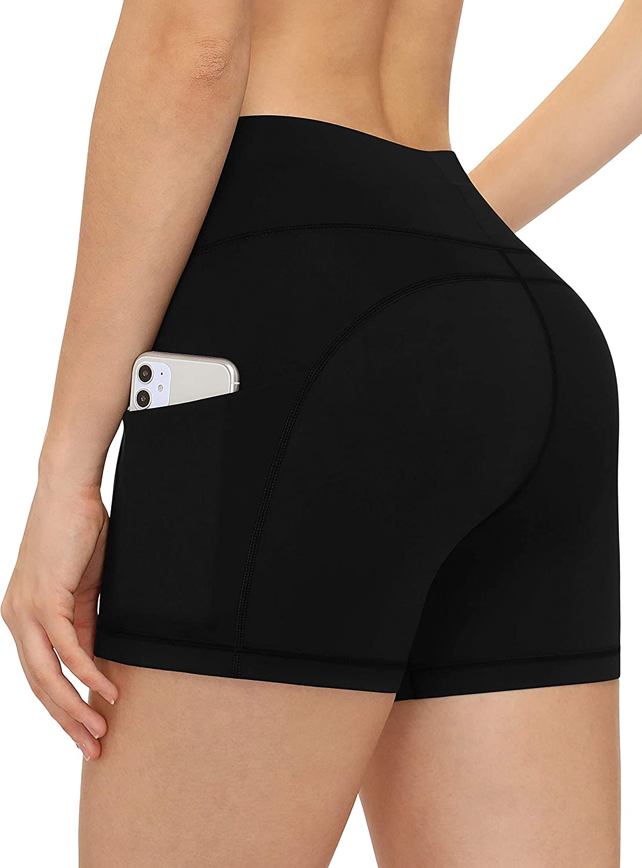 Luodemiss Womens Swimsuit Shorts Two Side Pockets High Waist Swim Shorts Quick Dry Swimwear Boardshorts