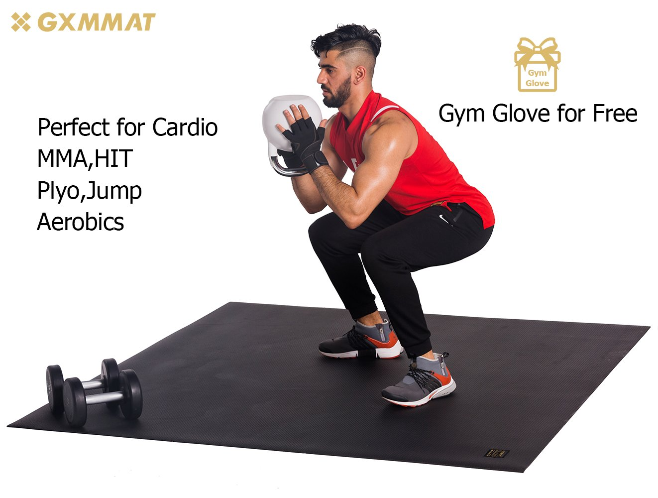 Gxmmat Large Exercise Mat 6'x6'x7mm for Partner Cadio Workout and Gym Equipment, Extra Thick Gymnastics Mats Non-Slip Anti-Tear for Home Gym Flooring - Plyo,HIT, Jump,Fitness Mat by Gxmmat (Image #2)
