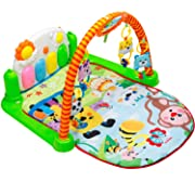 Tapiona Baby Play Gym - Kick and Play Piano Mat - Newborn Toy for Boy and Girl 0-36 Month - 2 Modes Kick Piano, Mirror, 4 Rattle Toys