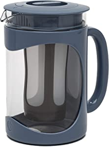 Primula Burke Deluxe Cold Brew Iced Coffee Maker, Comfort Grip Handle, Durable Glass Carafe, Removable Mesh Filter, Perfect 6 Cup Size, Dishwasher Safe, 1.6 Qt, Blue