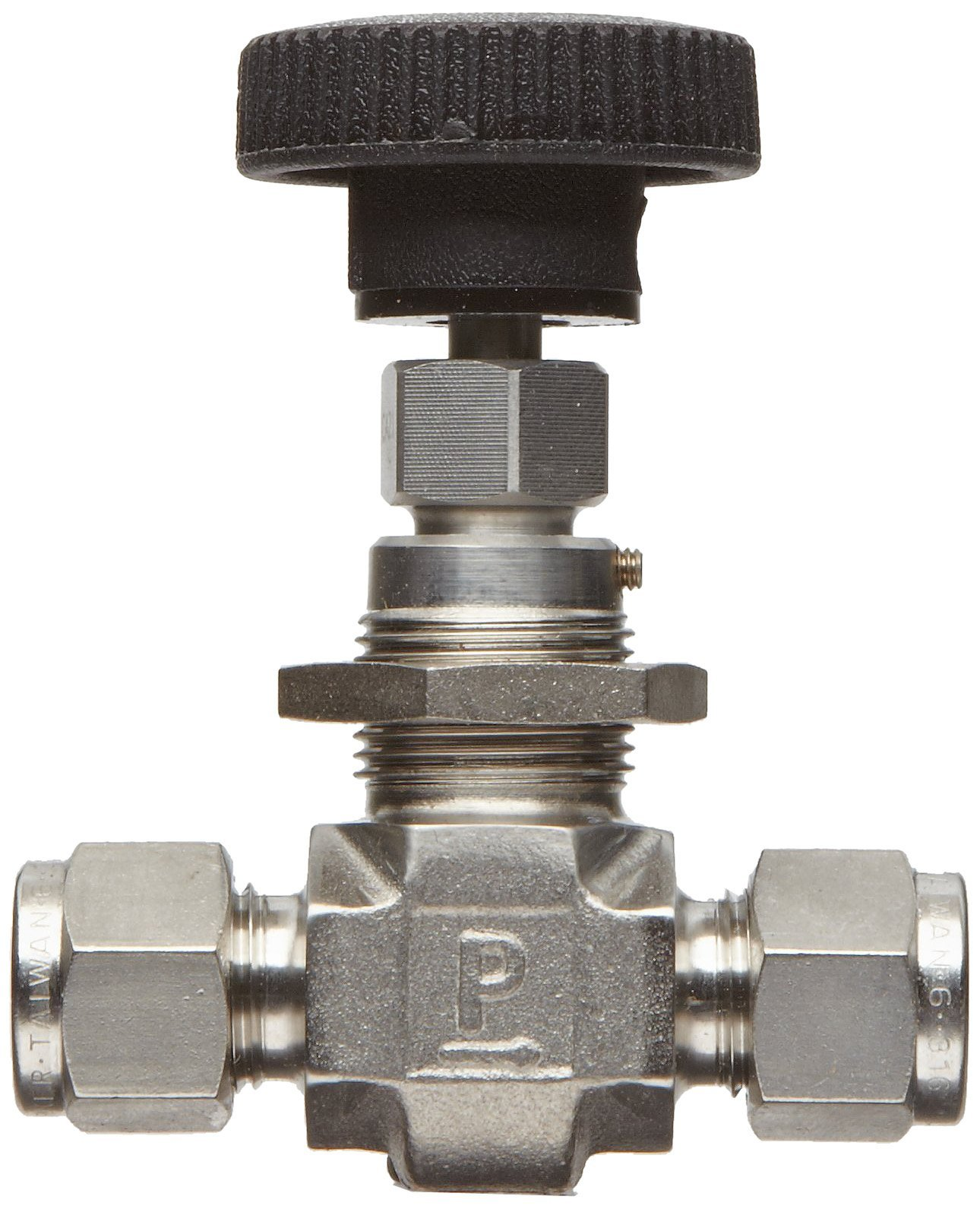 Parker NP6 Series Stainless Steel 316 Needle Valve, Inline, Hand Wheel, PCTFE Tipped Stem, 3/8'' CPI Compression Fitting