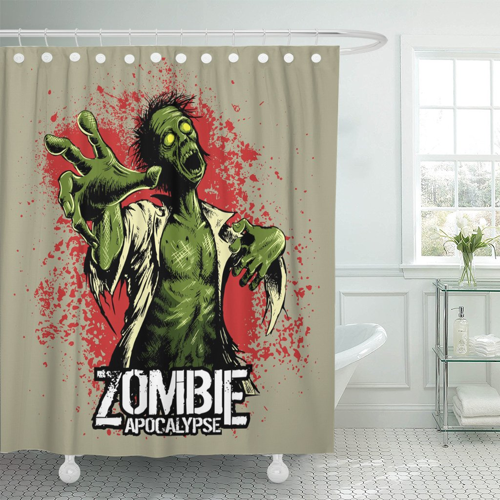 Emvency Shower Curtain Horror Comic Book Style Zombie with Red Stains on Movies Cartoon Waterproof Polyester Fabric 60 x 72 inches Set with Hooks
