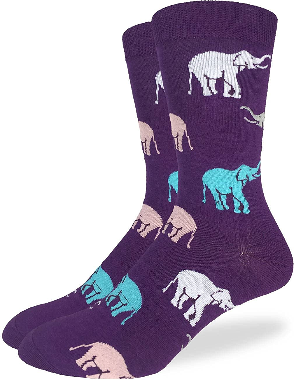 Good Luck Sock Men's Purple Elephant Crew Socks - Purple, Adult Shoe size 7-12 1263
