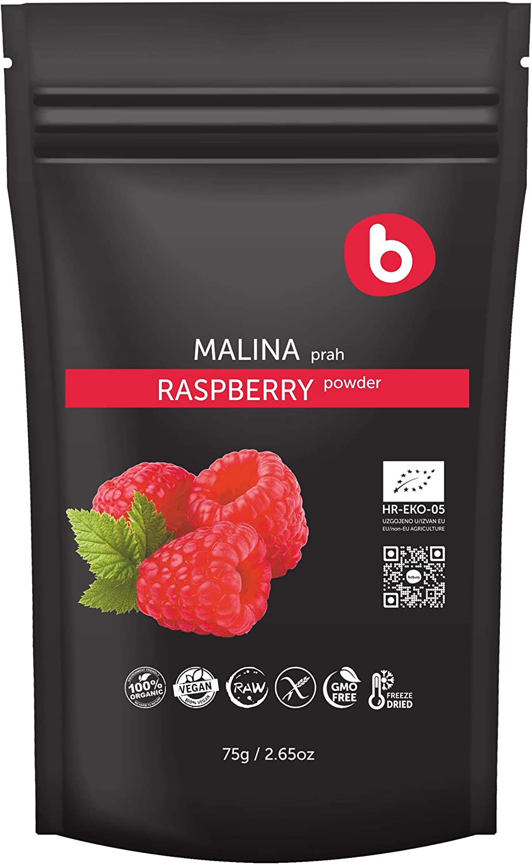 Bobica's Premium European Organic Raspberry Powder | from Freeze Dried Raspberries | High-Potassium Foods | Non-GMO, Gluten-Free, Raw | Vegetarians & Vegans | 2.65oz /75g |