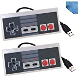2 Packs Classic Nintendo USB NES Controller USB Famicom Controller Joypad Gamepad,EEEKit Computer Games Solution Kit for Windows PC / MAC / Raspberry Pi