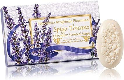 Jabón de lavanda, ovalado con relieve tallado ramo de flores, pack regalo de 3 jabones de 100 g, italiano hecho a mano de Fiorentino: Amazon.es: Belleza