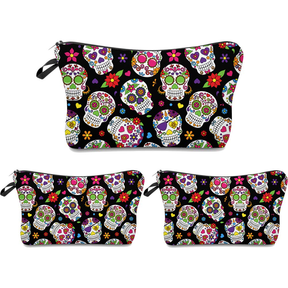 Cosmetic Bag MRSP Makeup bags for women,3 piece set Small makeup pouch Travel bags for toiletries waterproof Sugar Skull Particular