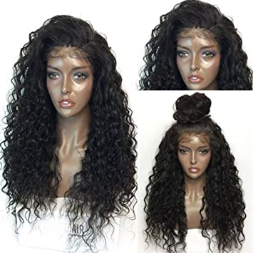 Amazon.com   Lmtime Hot Sale Curly Wig Glueless Full Lace Black Wigs Women  Indian Remy Human Hair Lace Front Wig (Black C)   Beauty 6f6d3f6eb7