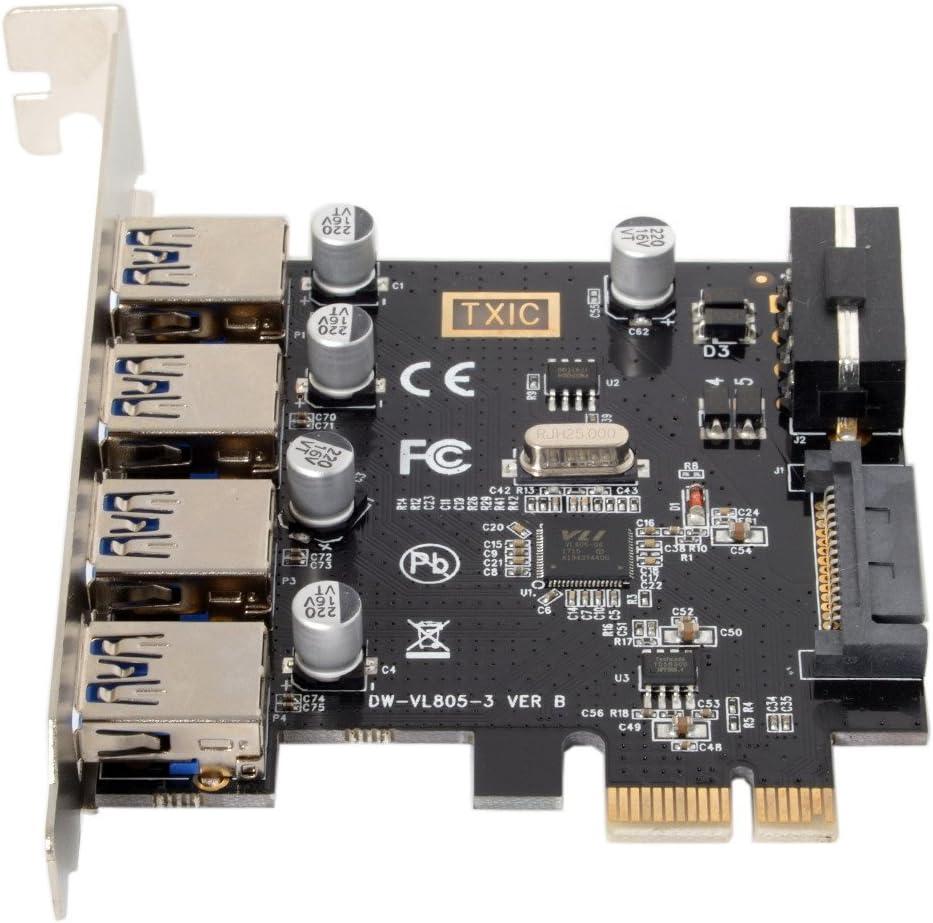 cablecc 4/Anschl/üsse PCI-E zu USB 3.0/Hub PCI Express Erweiterungskarte Adapter 5/Gbps f/ür Motherboard