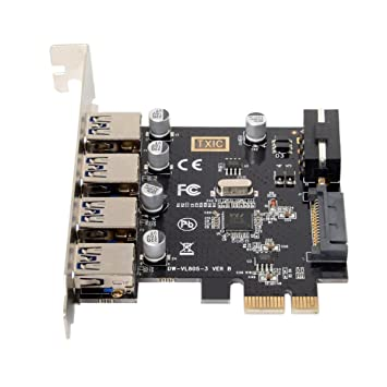 cablecc Low Profile 4 Ports PCI-E to USB 3.0 HUB PCI Express Expansion Card Adapter 5Gbps for Motherboard