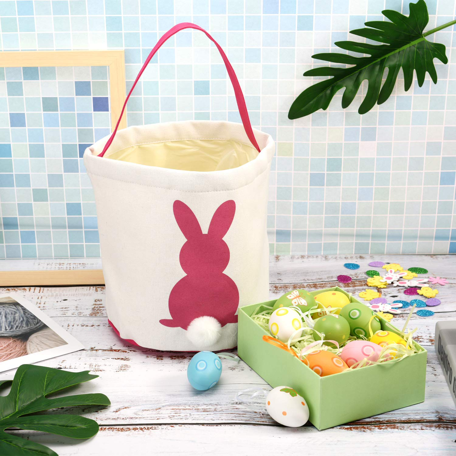 Zhanmai 2 Pieces Easter Bunny Bags Canvas Egg Basket Rabbit Bag for Carrying Eggs Candies and Gifts Pink