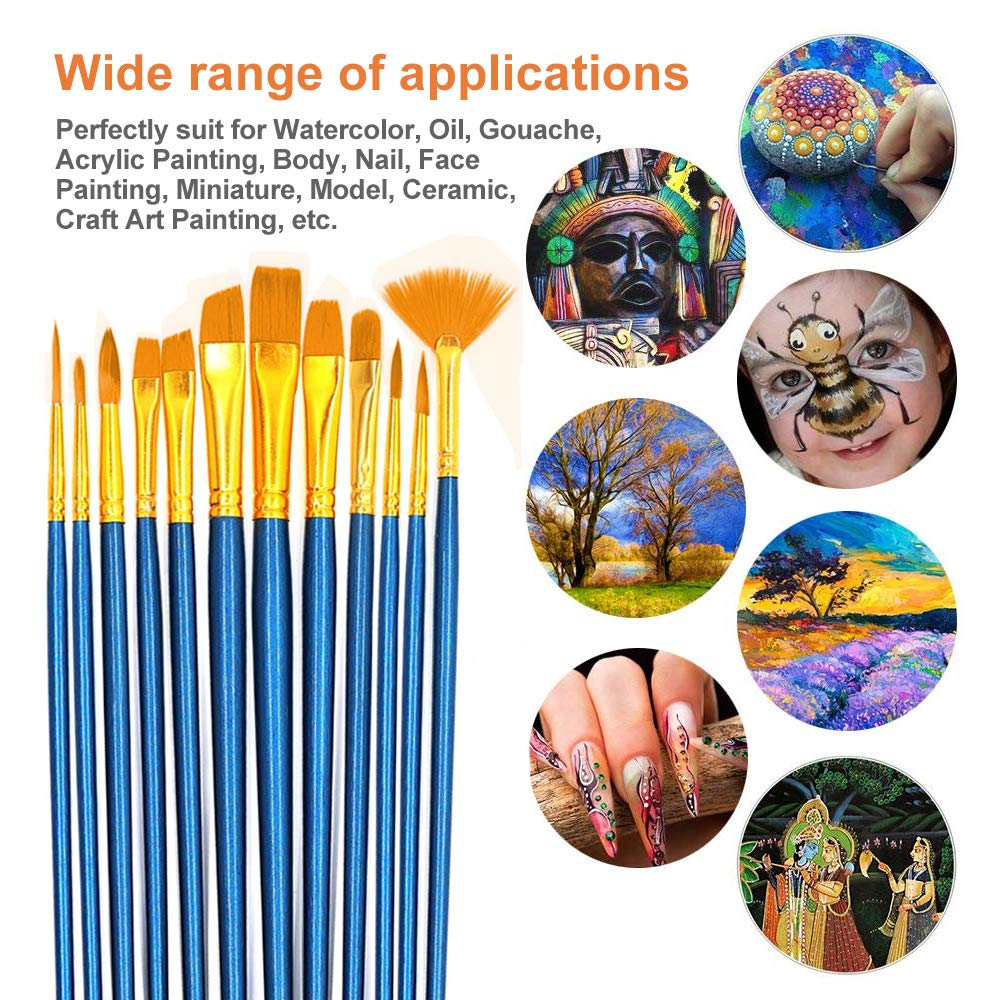 G-Color 12 Pieces Paint Brush Set Watercolor Brushes for Watercolor Oil Acrylic Painting Professional Painting Kits 1 Pack