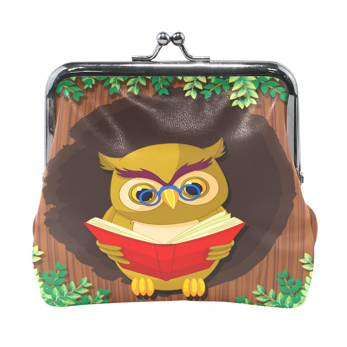 Ethel Ernest Owl Reading Book With Glasses Coin Wallets Mini Purse for Womens Girls